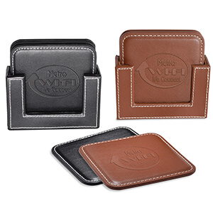 Item: Mi8054 - Vintage Leather 4-Square Coaster Set
